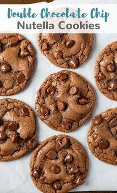 Double Chocolate Chip Nutella Cookies #cookies