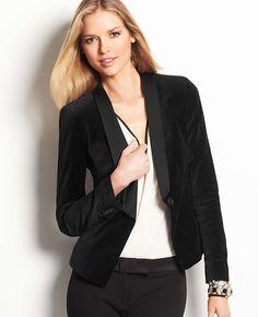 Petite Velvet Tuxedo Jacket