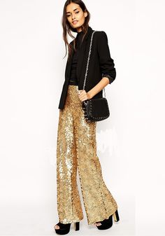 Golden Sequin Zipper High Waisted Wide Leg Loose-fitting Fashion Long Pants