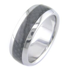 This titanium ring has a shimmering inlay of high tech carbon fiber. The weave of the graphite is tight, so it works for the small scale of a ring. The inlay looks brighter than the photo when light s