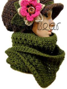 Infinity Crochet Scarf. Green or 43 colors. Women's Neck Warmer. Fashion Warm Autumn Fall Winter Accessory. by VividBear on Etsy