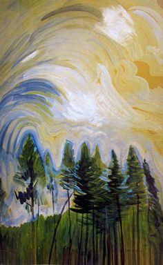 """chasingtailfeathers: """" Emily Carr Young Pines and Sky, circa 1935 oil on paper Collection of the Vancouver Art Gallery alongtimealone: Ten thousand flowers in spring, the moon in autumn, a cool breeze. Canadian Painters, Canadian Artists, Tom Thomson, Landscape Art, Landscape Paintings, Emily Carr Paintings, Wall Paintings, Group Of Seven Artists, Vancouver Art Gallery"""