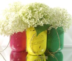 Rustic, Home Decor, Hand Painted Mason Jars -- Three, Pint Size, Painted Mason Jars -- Green, Yellow and Pink Jars