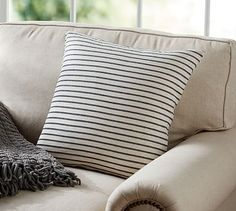 Shop porterdale knit stripe pillow cover from Pottery Barn. Our furniture, home decor and accessories collections feature porterdale knit stripe pillow cover in quality materials and classic styles. Black And White Pillows, Pillows And Throws, Stripe Pillow, Pillow Sale, Living Room Orange, Pillows, Beds For Sale, Rustic House, Pillow Covers