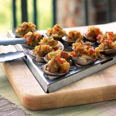 Grilled Seafood Appetizers  | Grilled Clams with Sambuca and Italian Sausage | MyRecipes.com