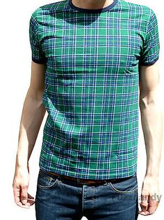 MENS Tartan tee band t-shirt indie mod punk vtg Retro NEW 80's 70's Green