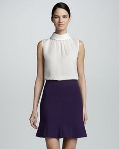 Flared Hem Crepe Skirt, Violet by Jason Wu at Neiman Marcus.