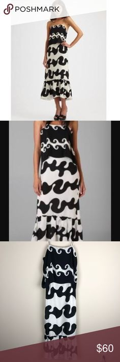 Diane Von Furstenberg | Black & White Maxi Dress Diane von Furstenberg Elalia Wave Maxi Dress. This is not quite a full Maxi (as pictured). 100% silk. Spaghetti straps with ties so they could theoretically be untied and adjusted. Fully lined.   Size: 2  Condition: New with tags, however two small flaws pictured. The pulling (shows up as a black line) is on the back of the dress and barely noticeable. This was also a gift and the gift-giver wrote my initials on the label so this has been…