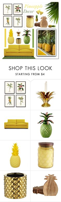 """""""Pineapple Decor"""" by jleigh329 ❤ liked on Polyvore featuring interior, interiors, interior design, home, home decor, interior decorating, Joybird, Pier 1 Imports and CB2"""