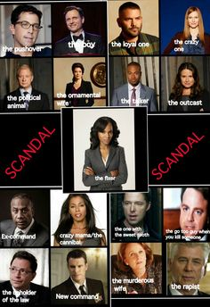 "Who's who - Personality of Characters on SCANDAL TV Show Series...  that's about right  [but, I don't remember ""the Go-To Guy"" (or the Go too Guy) ]"