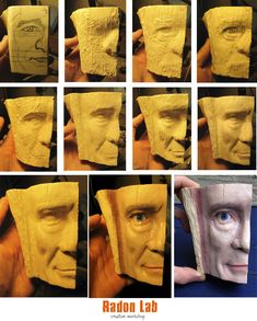 Small tutorial and the process of creating a Half face in color. Holzschnitzen , Small tutorial and the process of creating a Half face in color. Small tutorial and the process of creating a Half face in color. Simple Wood Carving, Wood Carving Faces, Wood Carving Patterns, Wood Carving Art, Carved Wood Wall Art, Wood Art, Whittling Wood, Chip Carving, Wooden Walking Sticks