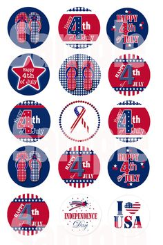INSTANT DOWNLOAD 1 Fourth of July bottle cap images by PatchScript, $1.75