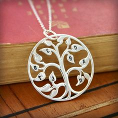 The Original Sterling silver family tree necklace - Stamped initial family tree of life on Etsy, $89.00