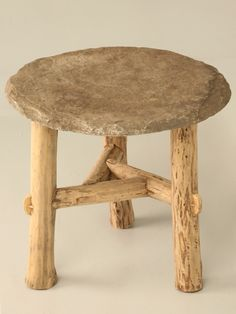 New Rustic Stone Topped Side Table