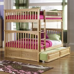 Atlantic Furniture Columbia Style Full Over Full Bunk Bed with Trundle in Natural Maple