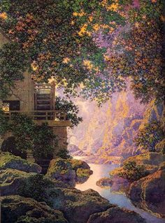 The Old Glen by Maxfield Parrish. Reminds me of Lord of the Rings...