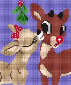 Clarice And Rudolph - The Red Nosed Reindeer - Christmas Perler Bead Pattern