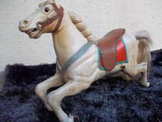 ANTIQUE CAROUSEL HORSE WOODEN HORSE 1920s GERMANY CIRMES JUMPER FAIRGROUND
