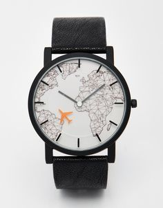 Image 1 ofASOS Watch With Moving Aeroplane Second Hand In Black