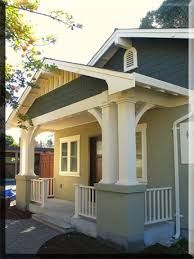 Exterior Paint Colors - You want a fresh new look for exterior of your home? Get inspired for your next exterior painting project with our color gallery. All About Best Home Exterior Paint Color Ideas Bungalow Exterior, Bungalow House Plans, Craftsman Style House Plans, Craftsman Bungalows, Exterior House Colors, Small House Plans, Exterior Paint, Exterior Design, Bungalow Porch