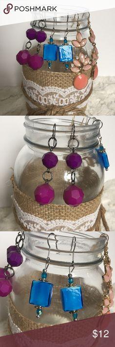 Bundle of 3 pretty drop earrings Bundle of 3 earrings. Pretty purple beaded ones. Handmade royal blue beaded earrings. And pretty coral earrings. Jewelry Earrings