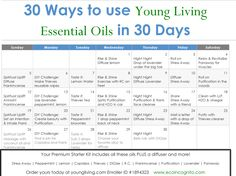 30 ways to use oils in 30 days! Print this handy chart and put it on your fridge. In one month, you'll develop a whole new habit of daily wellness!