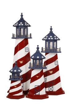 Amish-Made Patriotic Garden Lighthouse