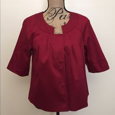 Red Jacket This is a gorgeous red jacket from Worthington size Large. It has 3/4 sleeves which are a little wide. It has snap buttons which are hidden. In excellent condition Worthington Jackets & Coats Blazers