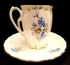Vintage Demitasse Cup & Saucer, White Daisies, Blue Flowers, Ceramic