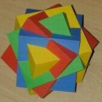 Paper Model Compound of Four Cubes