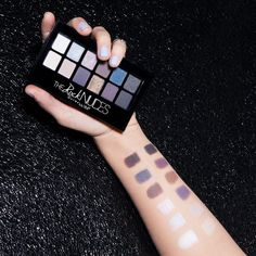 Swatches on swatches. Maybelline The Rock Nudes palette features 12 edgy shades that can go from day to night. The makeup ideas are endless with these versatile colors. Create a shimmering smokey eye for a night out or pair the matte eyeshadows with a natural makeup look. Get sultry and rock out.