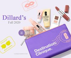 With any $31 purchase choose your 7-piece Clinique Gift at Dillard's Clinique Gift, Spa, Cosmetic Bag, Dillards, Free Gifts, Cosmetics, Toiletry Bag, Beauty Products, Makeup Pouch