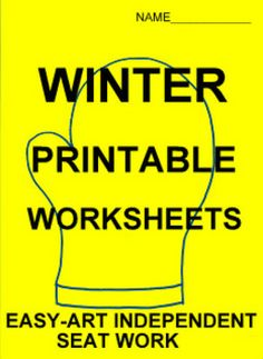 WINTER MITTEN PRINTABLE WORKSHEETS for elementary level classrooms- TeachersPayTeachers.com