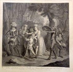 Don Quichotte protege Basile qui Epouse Quiterie par une ruse d'amour Tom.3 ch 21 - Gravé par D. Beauvais - MAS Estampes Anciennes - Antique Prints