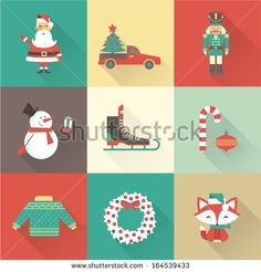 Christmas icons vector - stock vector