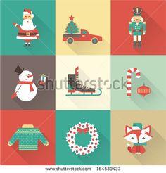 Christmas icons vector - stock vector