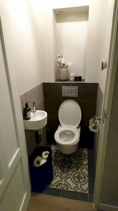 Home Discover Space Saving Toilet Design for Small Bathroom - Home to Z Small Downstairs Toilet Small Toilet Room Guest Toilet Downstairs Bathroom Small Toilet Decor Understairs Toilet Understairs Ideas Space Saving Toilet Toilet Closet Small Downstairs Toilet, Small Toilet Room, Downstairs Bathroom, Guest Toilet, Bathroom Closet, Small Toilet Decor, Bathroom Storage, Small Toilet Design, Bathroom Design Small
