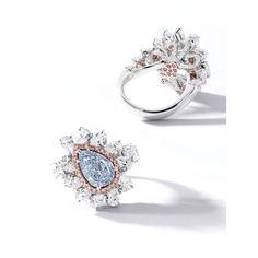 Fine Fancy Intense Blue Diamond, Pink Diamond and Diamond Ring   Lot   Sotheby's