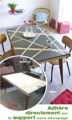 Peindre une table en bois avec la peinture sans décapage V33  avec deux couleurs en contraste dans le nuancier : Sur le plateau Taupe léger et noir Jaie pour former des rayures en diagonales. Photo avant/après application Vernis teinté Ultra Adhérent pour meubles et boiseries V33