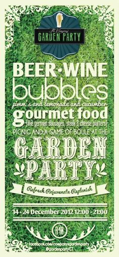 Fresh and inviting ~ the Company's Garden Party Pimms And Lemonade, Central Park, German Sausage, Cheese Platters, Party Poster, New York, Bubbles, Garden, 24 December