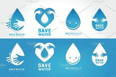 Save water Logo set by essense on @creativemarket