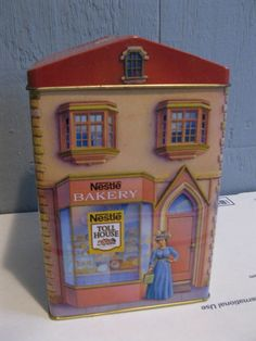 Vintage Nestle Toll House Tin Canister Town Candy Shop Book Loft Coffee Bakery