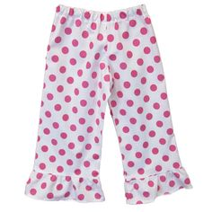 Laney Loops - Pink Polka Dot Single Ruffle Cotton Pants, $19.99 (http://www.laneyloops.com/pink-and-white-polka-dot-single-ruffle-cotton-pants/)