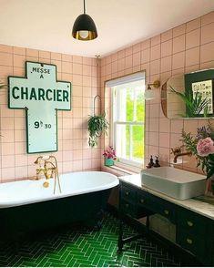 Colour Trends – Pink and Green Should Always Be Seen — Melanie Jade Design Pink Bathroom Tiles, Loft Bathroom, Bathroom Renos, Bathroom Colors, Small Bathroom, Green Bathrooms, Colourful Bathroom Tiles, Pink Tiles, Bathroom Vanities