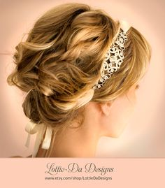 1920s Bridal Ribbon Headband, Gatsby Headband, Vintage Headband, Downton Abbey Headpiece, Lottie Da Designs - GRACIE