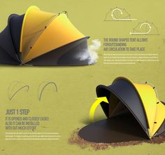 1 Perfect Second - For many people, pitching a tent is not second nature. The 1 Perfect Second tent has been designed to cater to those who struggle to set up camp ef. Zelt Camping, Car Shelter, Wooden Cradle, Yurt Living, Tensile Structures, Beach Cabana, Tent Design, Geodesic Dome, Co Working