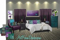 Instantly turn any picture into a palette with ColorSnap, created for you by Sherwin-Williams. Purple Teal Bedroom, Peacock Bedroom, Bedroom Turquoise, Bedroom Colors, Bedroom Decor, Bedroom Ideas, Purple Curtains, Purple Gray, My New Room
