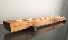 Long Cedar Wood Tea Light Candle Holder Modern Rustic Wedding Centerpiece 36 inch Hey, I found this Modern Candle Holders, Candle Holder Decor, Tealight Candle Holders, Candle Shop, Candle Wax, Small Woodworking Projects, Wood Projects, Modern Rustic, Rustic Wood