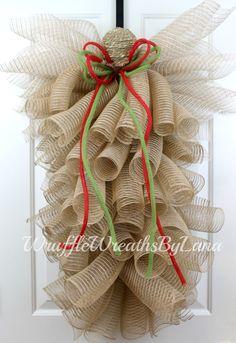 ON SALE!! Christmas Deco Mesh Angel, Christmas Burlap Angel, Deco Mesh Angel,  Christmas Angel, Burlap Angel by WruffleWreathsbyLana on Etsy