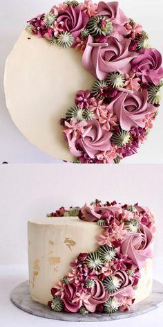 Cupcake Decorating Tips, Cake Decorating Frosting, Creative Cake Decorating, Cake Decorating Designs, Cake Decorating Techniques, Creative Cakes, Cake Designs, Elegant Birthday Cakes, Beautiful Birthday Cakes